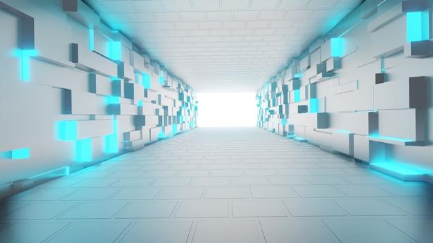 Túnel futurista vacío. diseño interior de pasillo iluminado, luces brillantes de neón, renderizado 3d