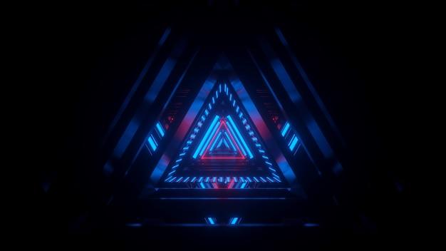 Túnel en luz de neón azul scifi abstracción calidor tech fondo renderizado 3d