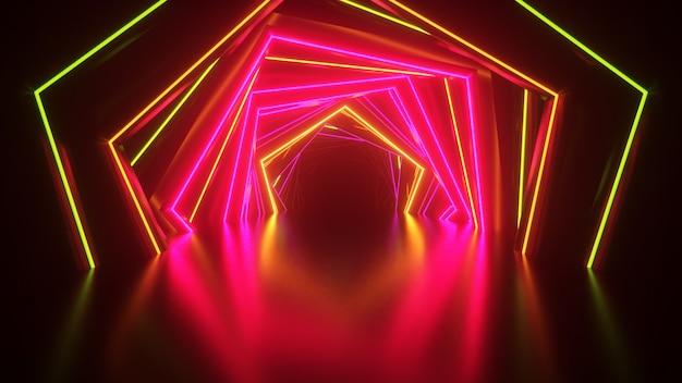 Túnel de neón hexagonal abstracto tecnológico