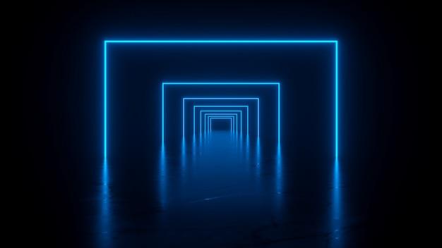 Túnel que consta de grandes cuadrados brillantes de neón en renderin 3d azul