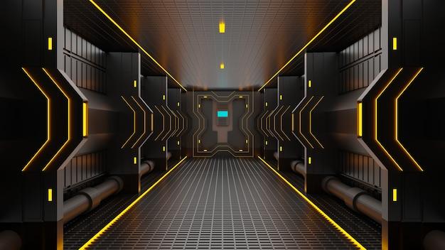 Túnel de renderizado 3d fondo abstracto de ciencia ficción de tecnología de alta tecnología