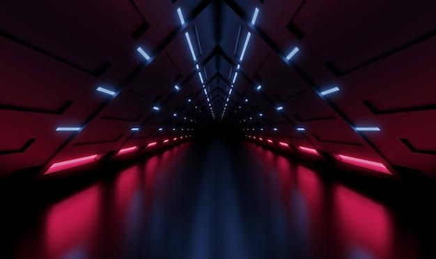 Túnel de representación 3d nave espacial interior azul y rosa, corredor