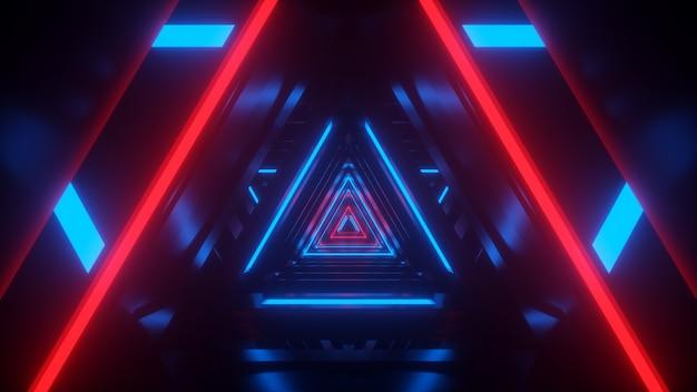 Túnel de tecnología de neón del futuro con renderizado 3d de resplandor rojo y azul
