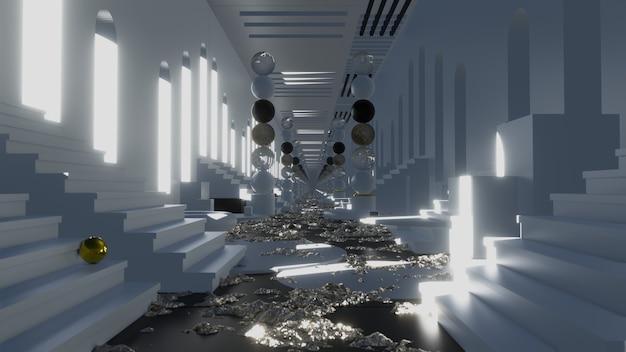 Tunnel podium in clean scene geometric es metraje en movimiento para películas comerciales y cinemático en la escena del escaparate. también es un buen fondo para escenas y títulos, logotipos.