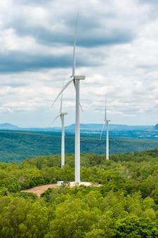 Turbinas de energía eólica en medio de la naturaleza, desfiladero y cielo de árboles