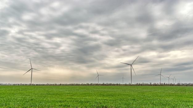 Turbinas de viento que generan electricidad en un campo verde