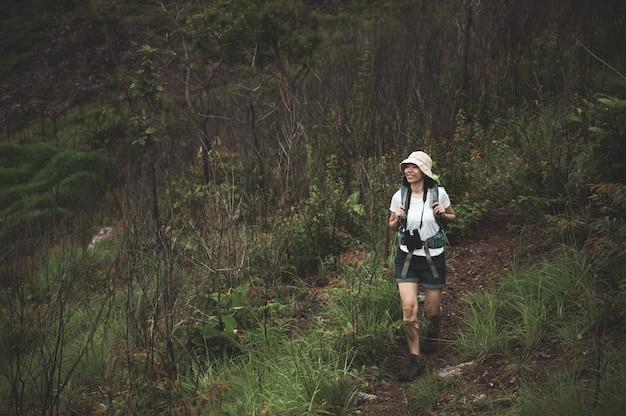 Turista caminando hacia el bosque con mochila y binoculares. camper chica explorar en el bosque.