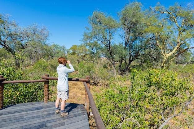 Turista mirando el panorama con binoculares desde el punto de vista sobre el río olifants