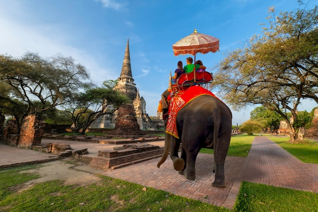 Turistas extranjeros paseo en elefante para visitar ayutthaya.