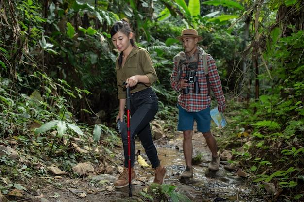 Turistas masculinos y femeninos disfrutan del bosque.