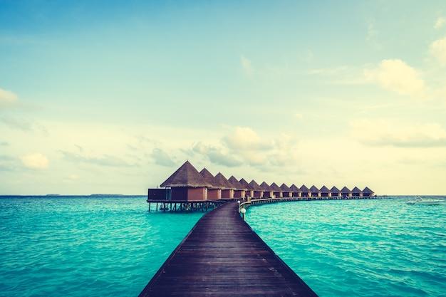 Turístico en la costa de arena océano verde