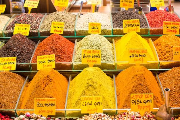 Turquía, estambul, bazar de especias, especias turcas para la venta
