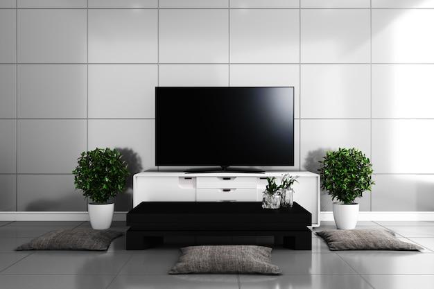 Tv en la sala de estar moderna, azulejos diseño colorido. representación 3d