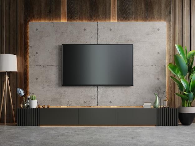Tv en el gabinete en la moderna sala de estar en muro de hormigón, renderizado 3d