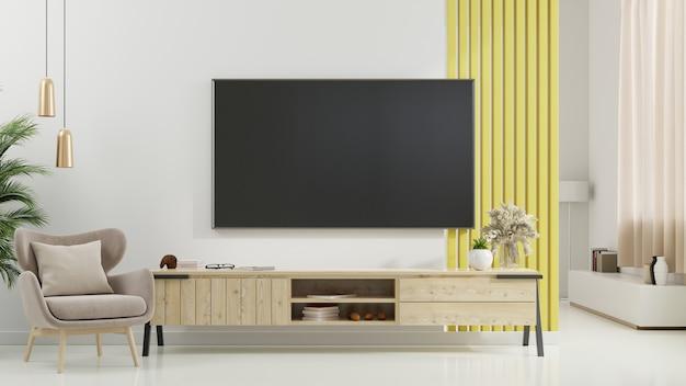 Tv en el gabinete en la moderna sala de estar con sillón, lámpara, mesa, flor y planta sobre fondo de pared blanca, representación 3d
