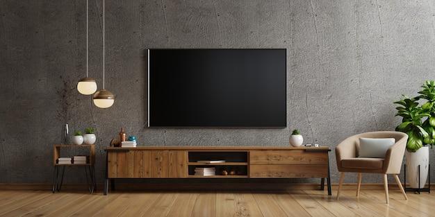 Tv en el gabinete en la sala de estar moderna el muro de hormigón, representación 3d