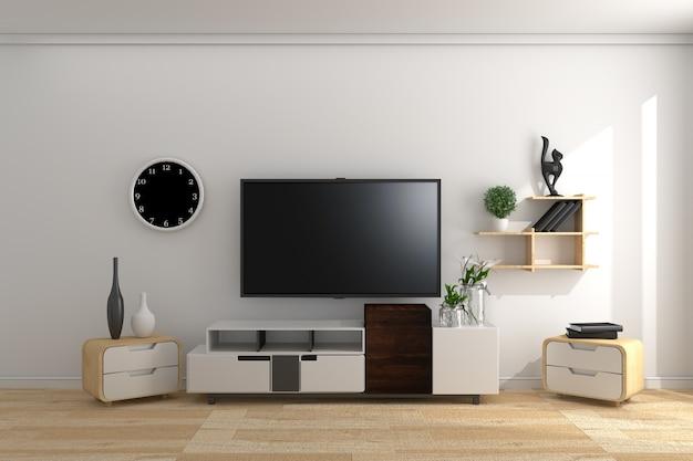Tv japón - smart tv mock-up en la habitación vacía, pared blanca en el interior vacío moderno.