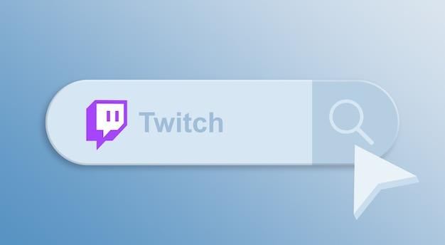 Twitch en la barra de búsqueda con el cursor del mouse 3d