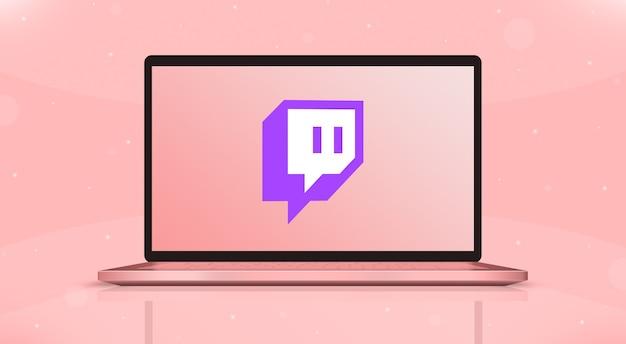 Twitch iconos logo en la pantalla de la computadora portátil vista frontal 3d
