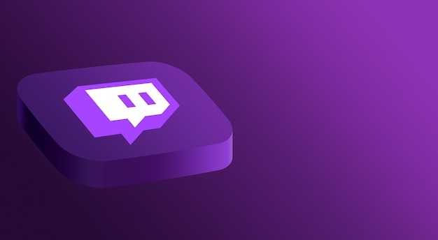 Twitch logo diseño minimalista 3d