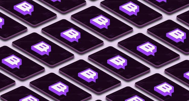 Twitch logo icon en muchos teléfonos con pantalla 3d