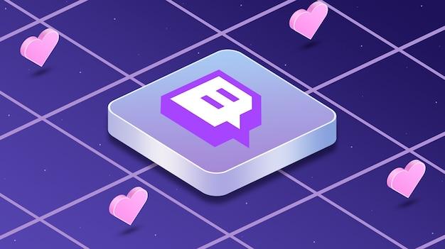 Twitch logo icono con corazones alrededor de 3d