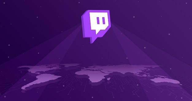 Twitch logo icono sobre el mapa del mundo 3d
