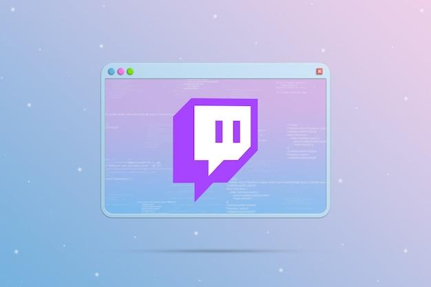 Twitch logo icono en la ventana del navegador con elementos del código del programa 3d