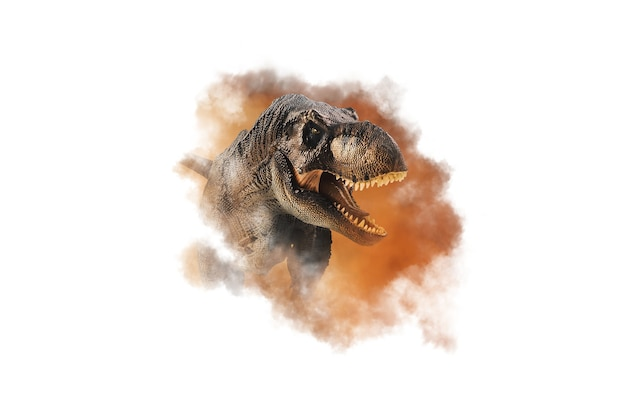 Tyrannosaurus t-rex, dinosaurio sobre fondo de humo