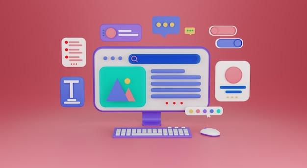 Ui ux diseño web concepto de desarrollo web creación web ilustración de render 3d foto premium