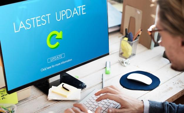 Última versión actualizaciones frescas concepto de actualizaciones de la aplicación