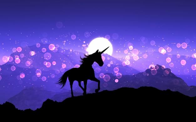 Unicornio de fantasía 3d en un paisaje de montaña con un cielo púrpura al atardecer