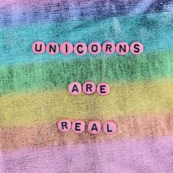 Los unicornios rosados son tipografía de mensaje de cuentas reales