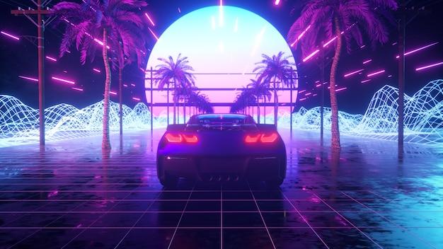 Unidad de coche futurista a través del espacio abstracto de neón.