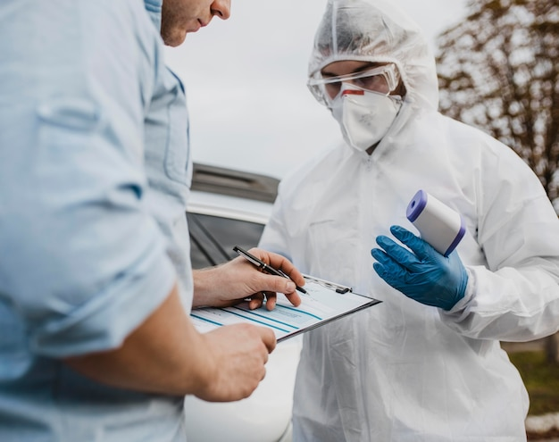 Unidad de primer plano en la prueba de coronavirus