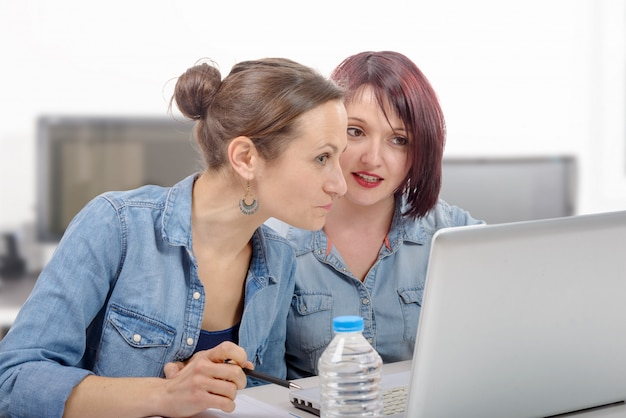 Universidad de mujeres trabajando en la computadora portátil