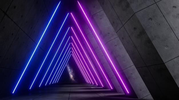 Universo de fantasía y corredor espacial, render 3d
