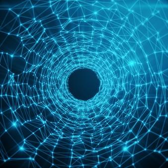 Urdimbre de túnel de velocidad futurista abstracto. fondo futurista de ciencia ficción abstracta. fondo de espacio abstracto, superficies de geometría con puntos de conexión y líneas sobre fondo de tinte azul, representación 3d