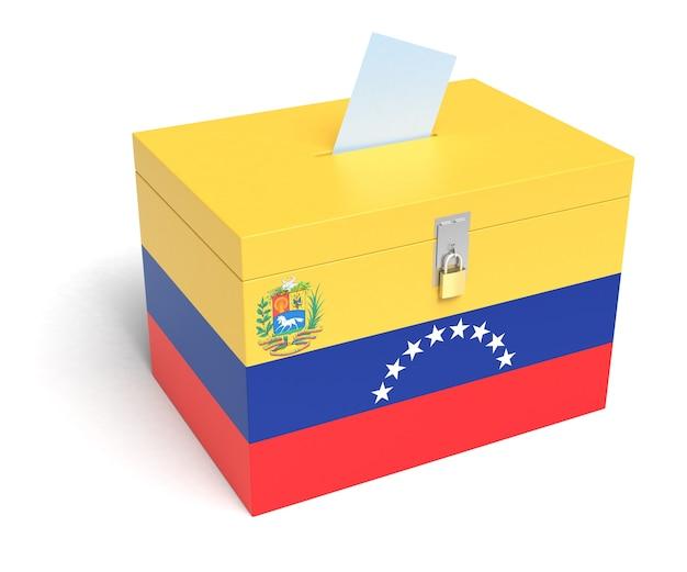 Urna de la bandera de venezuela. fondo blanco aislado. representación 3d.