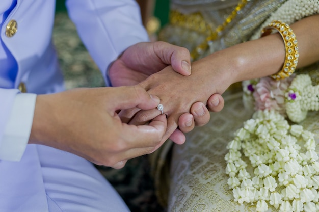 Usar un anillo, anillo de bodas, pareja de amor