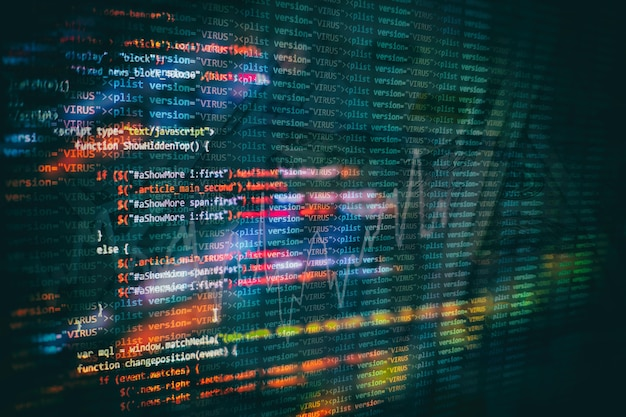 Uso de css, javascript y html. supervisar el primer plano del código fuente de la función. fondo abstracto de tecnología de ti. código fuente del software.