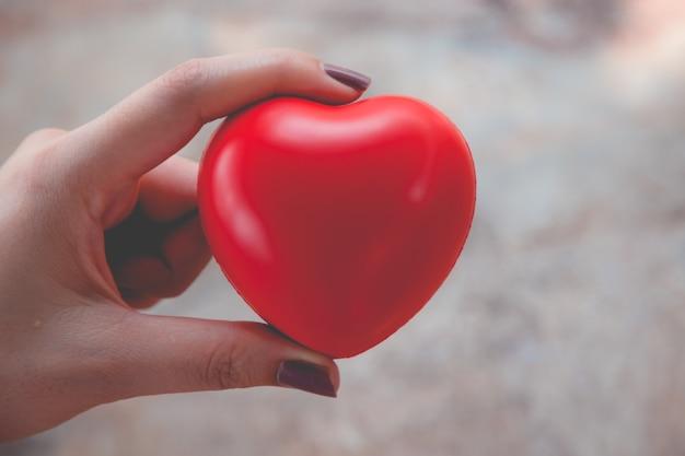 Uso del corazón rojo del asimiento de la mujer para el fondo