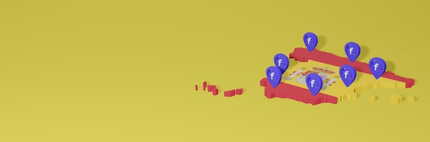 Uso y distribución de las redes sociales facebook en españa para infografías en renderizado 3d