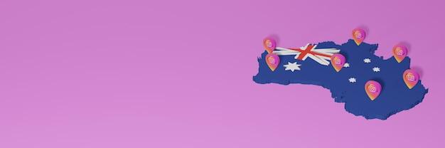 Uso y distribución de las redes sociales instagram en australia para infografías en renderizado 3d