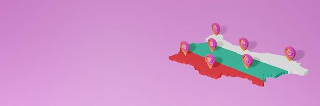 Uso y distribución de las redes sociales instagram en bulgaria para infografías en renderizado 3d