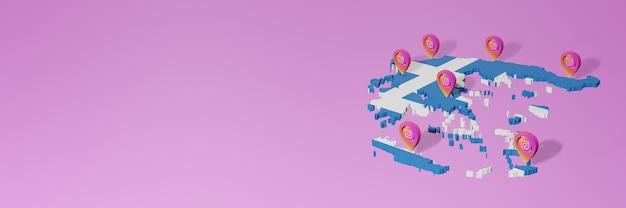 Uso y distribución de las redes sociales instagram en grecia para infografías en renderizado 3d