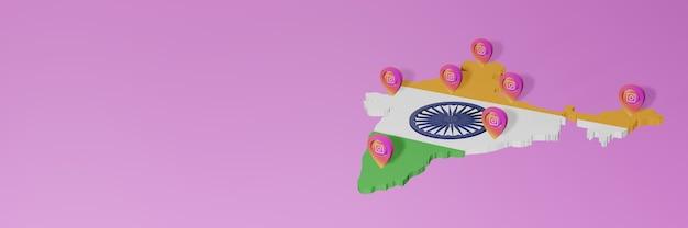 Uso y distribución de las redes sociales instagram en india para infografías en renderizado 3d