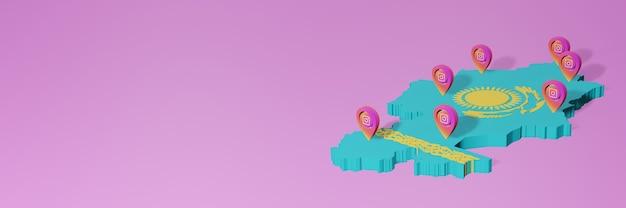 Uso y distribución de las redes sociales instagram en kazajstán para infografías en renderizado 3d