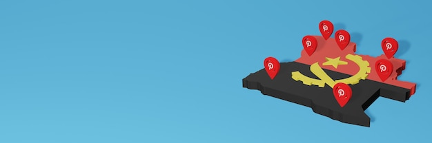 El uso de pinterest en angola para las necesidades de la televisión en las redes sociales y el fondo del sitio web cubren el espacio en blanco