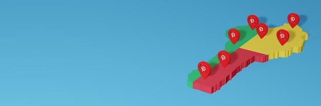 El uso de pinterest en benin para las necesidades de la televisión en las redes sociales y el fondo del sitio web cubren el espacio en blanco